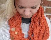 Custom Order - Dark Gray Colored Infinity Scarf, Crochet Chain Infinity Scarf, Crochet Scarf