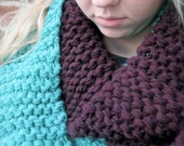 Turquoise and Plum Knit Infinity Scarf, Knit Scarf, Infinity Scarf, Fall Infinity Scarf