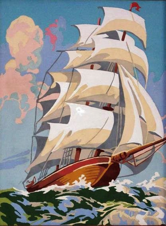 Paint By Number,  PBN, Vintage, 1970s, Sea View, Ocean, Schooner, Ship, Pirate Ship, Blue, Green, Aquamarine, Sails