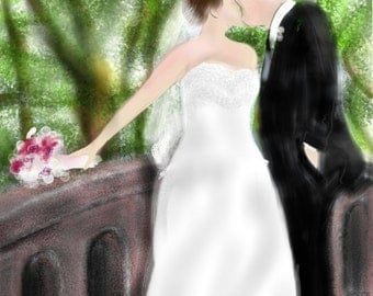 Custom Wedding Painting, custom portrait, groom, bride, artwork, art print, artwork, anniversary, wedding, valentine's day, love, marriage