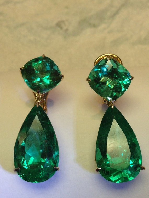 Items Similar To Colombian Emerald Earings On Etsy