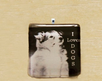 I Love Dogs Glass Tile Pendant, 1 inch square