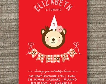 Teddy Bears Picnic Invitation for girl, 1st 2nd 3rd 4th 5th birthday - kids party invites - pdf printable - red gingham