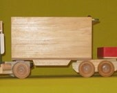 Wooden Handmade Truck With Two Trailers - Non-toxic Paint & Water Base Finish