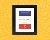 "Book Clubs: ""Rangers"" A4 Football Print in blue, red and white."
