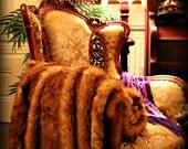 FUR ACCENTS Red Fox Throw Blanket / Premium Faux Fur Minky Lining