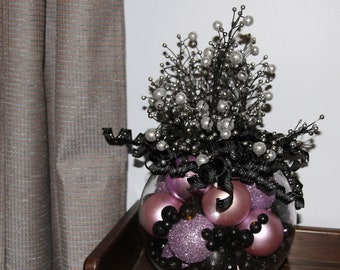 Christmas Centerpiece - Lavendar & Black Holiday Decoration