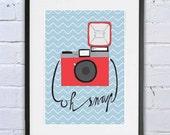 "Print poster ""Vintage camera: ""Oh snap"" art print, wall art, poster, illustration, camera artwork, camera poster, home decor, camera art"