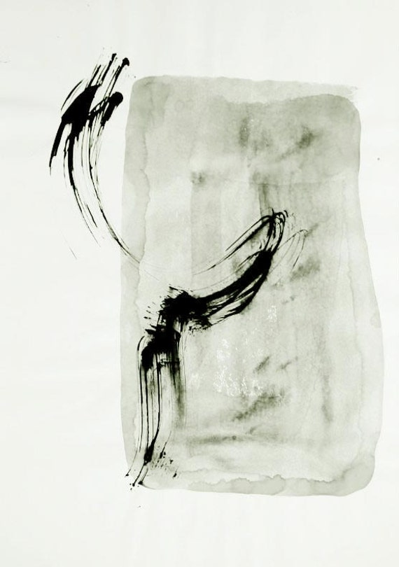 Original abstract ink drawing on paper A2 - Wind-Ink dark/ink wash/sepia/grey/contemporany art/modern/gestual/abstract art