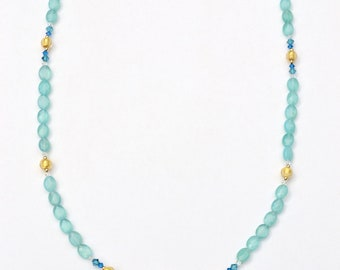 Blue Topaz Clasp Necklace with Venetian Murano beads, semi-precious stones, Swarovski Crystals, and gold beads