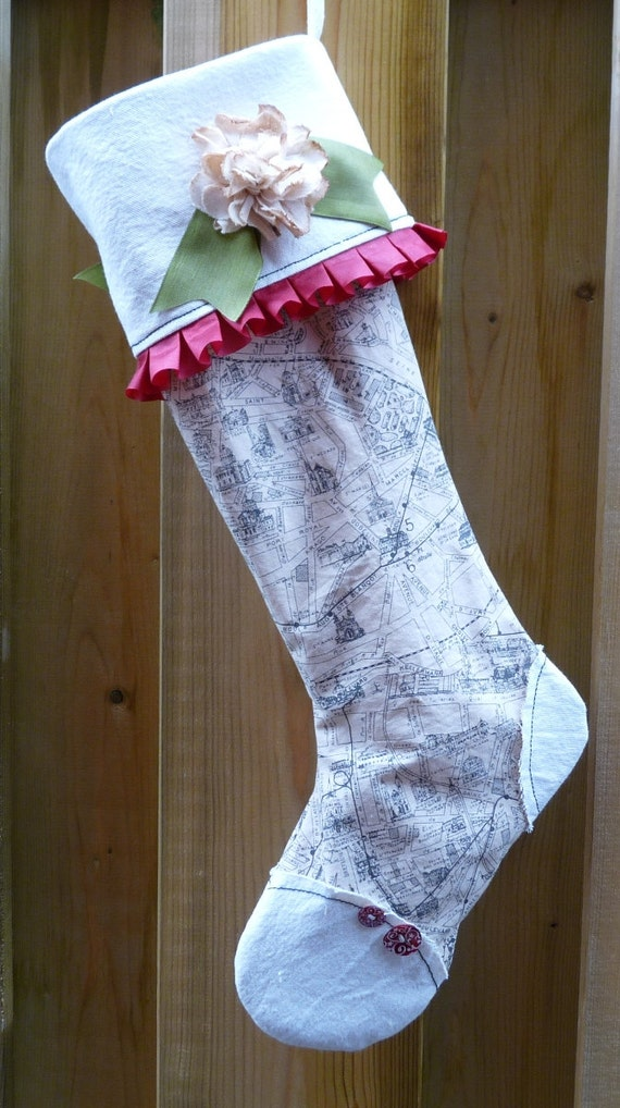 Map Of Paris Handmade Christmas Stocking Vintage Inspired