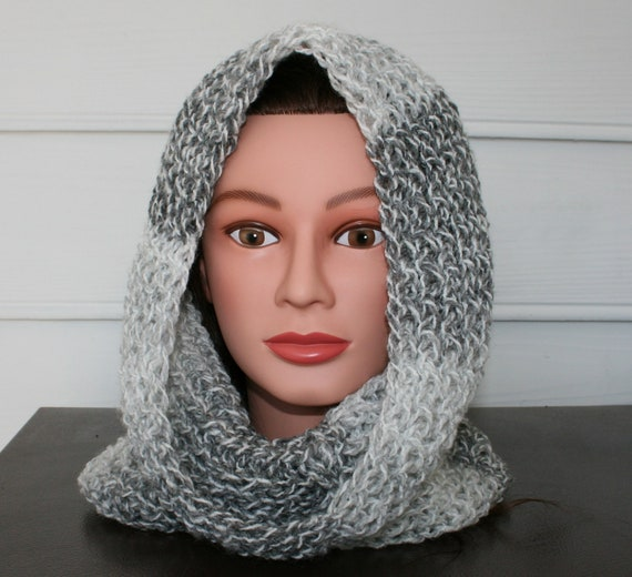 Cowl Scarf  hand knitted in shades of gray.  Wear as a hood or as a scarf around your neck.