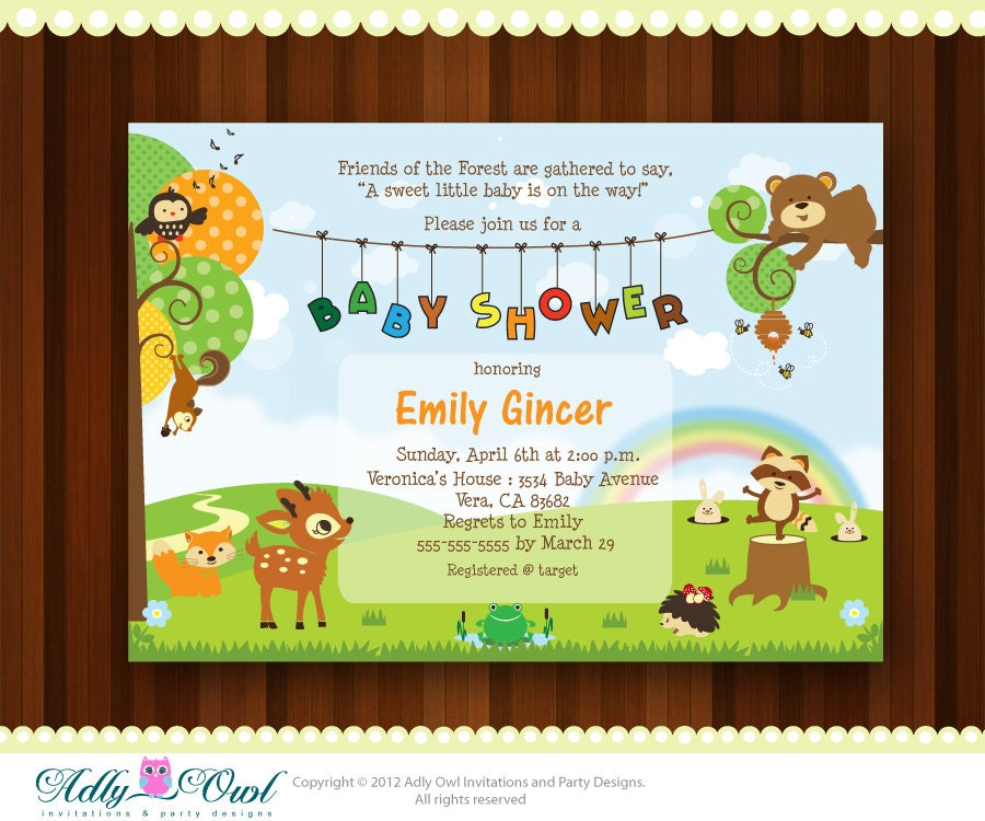 woodland baby shower invitations personalized forest woodland