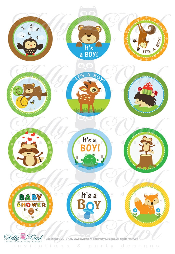 Boy Woodland Forest Animals Baby Shower Cupcake Toppers Or