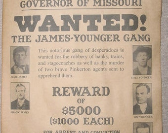 Set of 5 Old West Wanted Posters, Billy the Kid, Jesse James, James Gang, Daltons, Geronimo