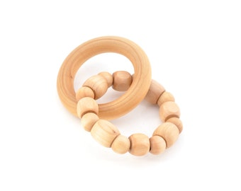 Natural Wooden Teether - Natural Baby Toy - Montessori Inspired Wooden Toy - Eco Friendly Wood Toy - Keepsake Toys (G)