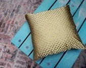 Henna Green Antique Sitara -  Ethnic Throw Pillow Cover - 16 x 16 Traditional Silk and Banarsi Cushion with Salma Sitara Embroidery