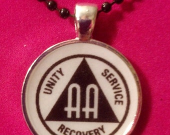 Alcoholics Anonymous White & Black Recovery Necklace
