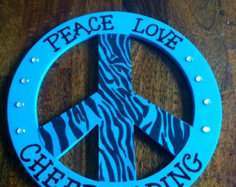Peace, Love, Cheerleading Wooden Peace Sign