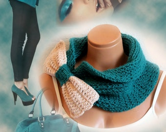 Bow Scarf Chunky Neck Warmer Teal Vanilla. Winter Fashion Knitted Cowl. Woman Accessory