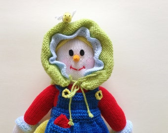 Hand knitted grandma scarecrow doll