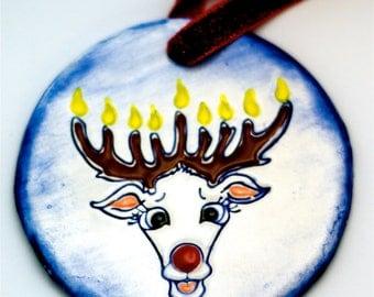 Chrismukkah Ornament Interfaith Reindeer - Hanukkah Gift