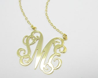 "Monogram necklace 0.8"" Personalized Necklace - Sterling silver 925 Plated 18k gold. gift for her, monogram jewelry"