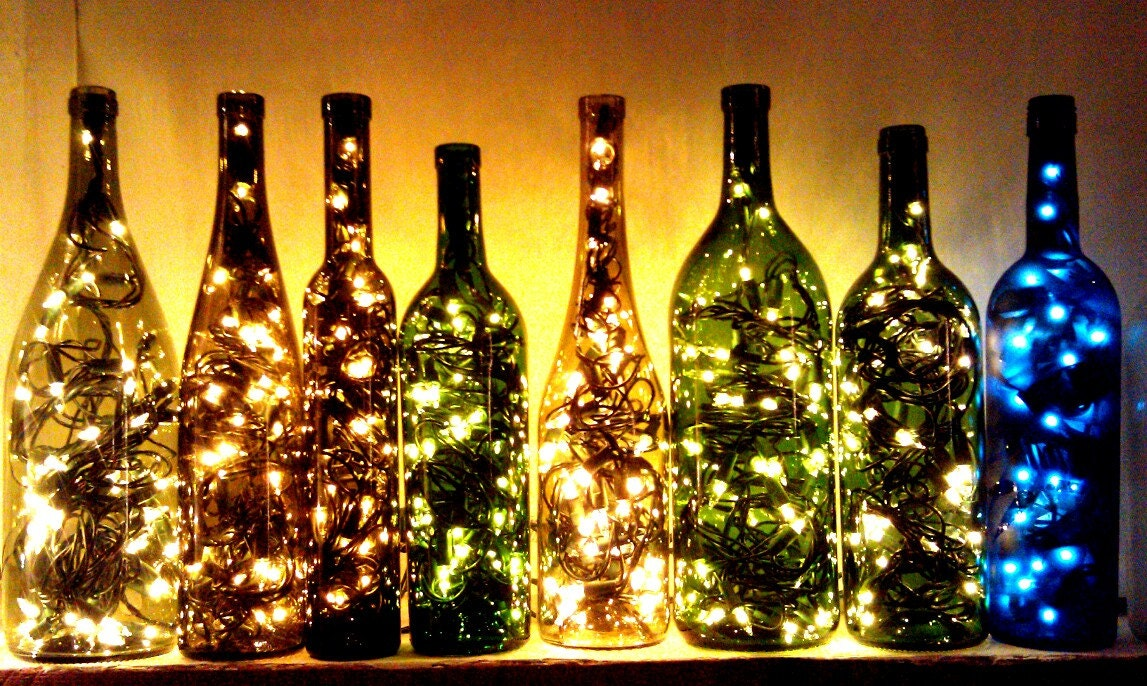 Recycled wine bottle light by classygarbage on etsy for How to make wine bottle lights