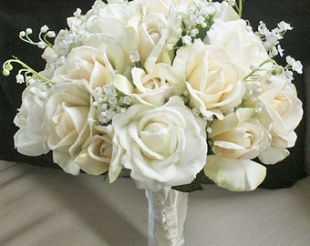Silk Wedding Bouquet with Champagne and Ivory Roses - Natural Touch Silk Flower Bride Bouquet - Almost Fresh