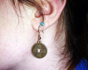 Large Chinese Good Luck Coin Earings