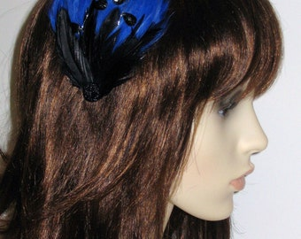 Royal Blue and Black Feather Hair Clip Feathers Bridesmaids Hair Accessory Handmade Fascinator Weddings