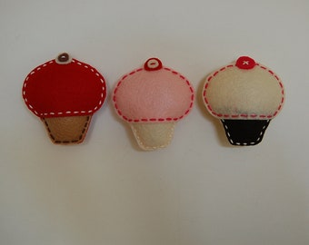 Felt cupcake magnets.  Set of 3.