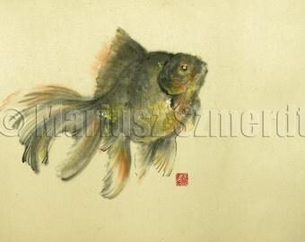Goldfish original painting, asian painting, asian art, sumi-e, chinese art, chinese painting