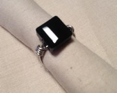Black Square Swarovski Crystal Wire Wrapped Ring