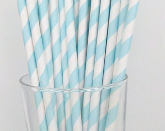 25 Baby Blue Paper Straws......Baby Showers....Bridal Parties....Weddings....Birthday Parties.......