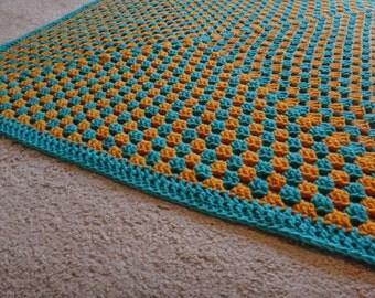 Crochet Granny Square Baby Blanket - Aqua and Gold