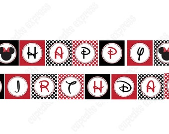INSTANT DOWNLOAD  diy  Minnie Mouse Red  PRINTABLE  birthday party Banner red black
