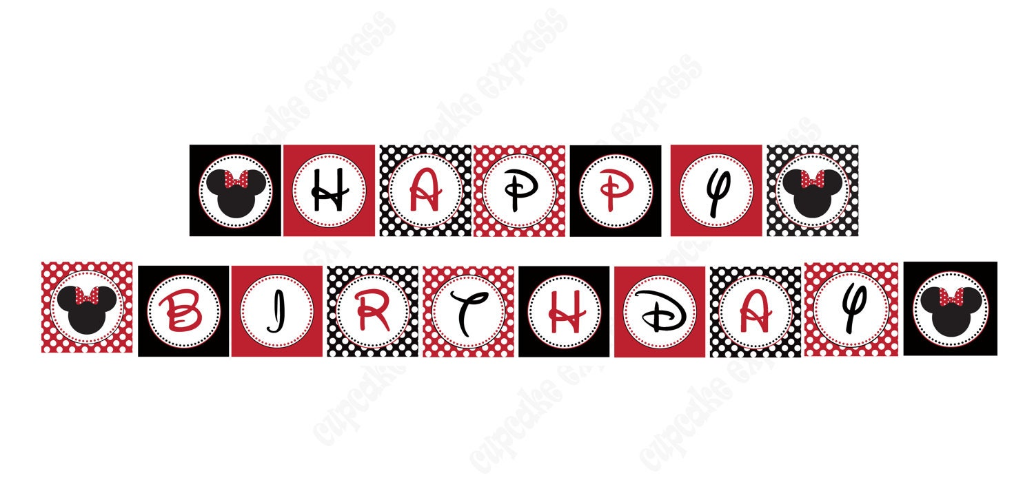 minnie mouse banner red printable happy birthday party banner