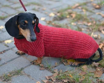 Puppy Knit Clothes  Dog Sweater Pets Clothes Hand Knitting dachshund medium dog vinous rowan warm clothes for dog