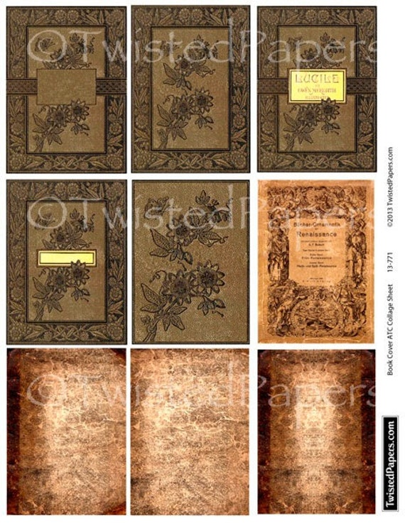 How To Make Book Cover Collage : Antiquarian book covers collage sheet for atc aceo