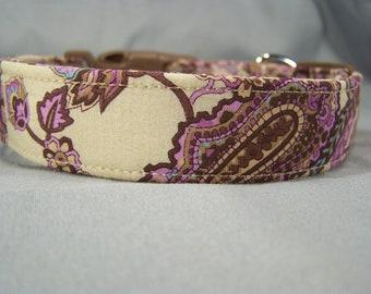 Purple Paisley on Tan Dog Collar