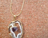 Agate Geode Slice Pendant with Crystal Dangle/ Gold Plated