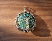 Wire Wrapped Tree of Life on Mosaic Blue and Green Stone Bead
