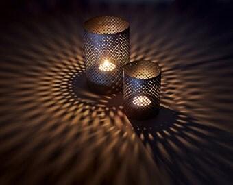 Large 6x4 Metal Candleholder Outdoor Wedding Garden Party DIY Black Patina Fishnet Pattern