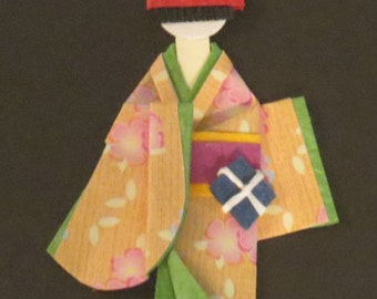 Origami Traditional Japanese Person Framed and Matted