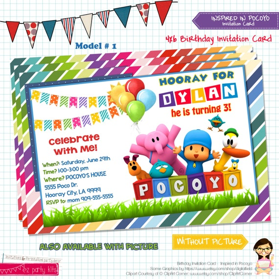 Pocoyo Birthday Party Invitations