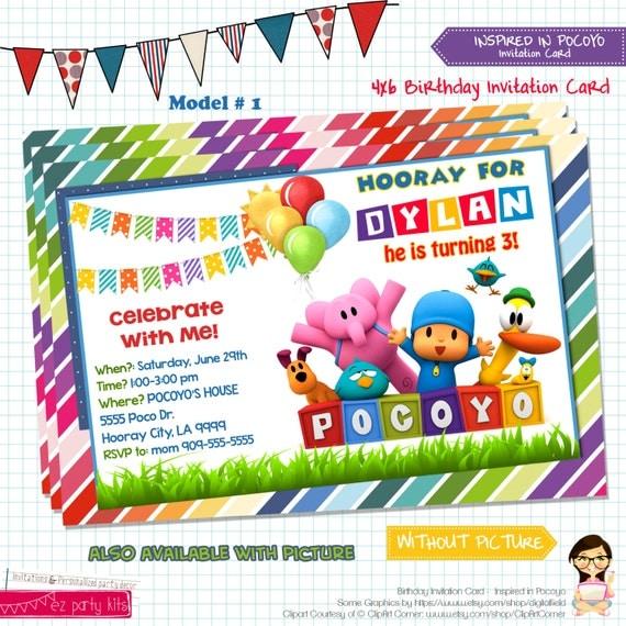 Pocoyo Birthday Invitations