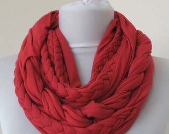 Cranberry Loop Scarf - Infinity Jersey Scarf - Partially braided Circle Scarf - Scarf Nekclace