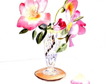 Pink Rose Flowers Watercolor Art Cards Four Pastel Pink Floral Art Print Blank Notecards