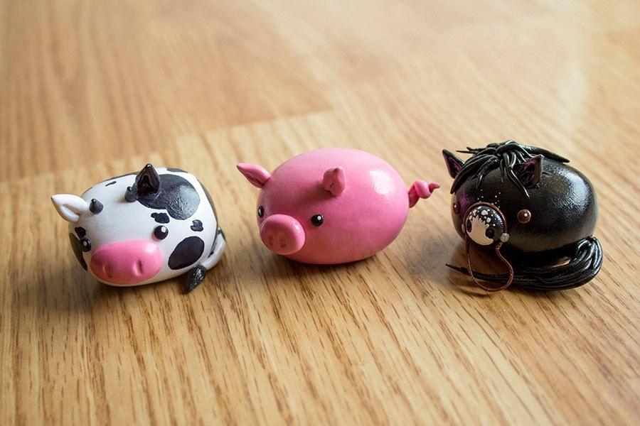 Kawaii Chibi Farm Animals Polymer Clay Figure Made by ...